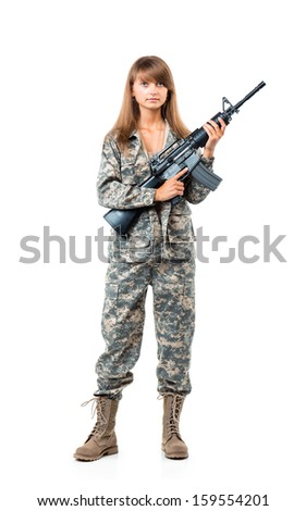 Soldier young beautyful girl dressed in a camouflage with a gun in his hand on white background