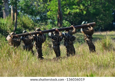 Soldiers game on military training ground ( battle camp ). Action. Operation - stock photo