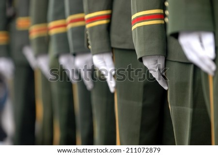 soldiers in a row - stock photo
