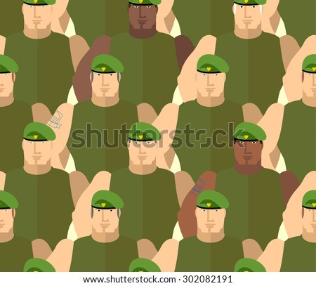 Soldiers in Green Berets. Special forces. Army seamless background of people. Marines in green t-shirts. Military background - stock photo