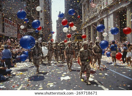 Soldiers in tickertape parade, New York - stock photo