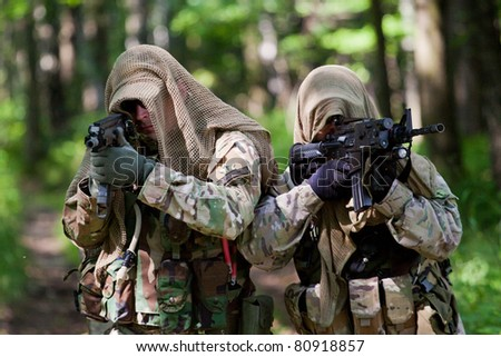 Soldiers in US Army Special Forces uniform - stock photo