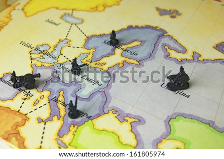 Soldiers war game on map risk stock photo image royalty free game on map risk gumiabroncs Image collections