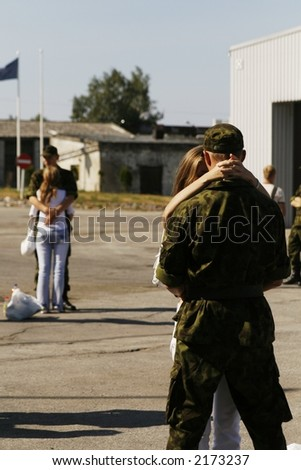 soldiers meeting with their girlfriends - stock photo
