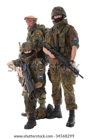 Soldiers of the Bundeswehr (Germany) with the weapon. - stock photo