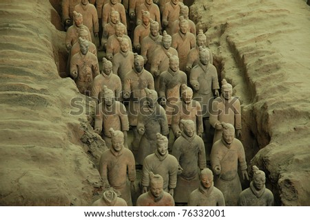 Soldiers of the Terracotta Army from the Qin Dynasty, Xi'an, China