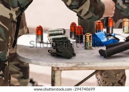soldiers on maneuvers - stock photo
