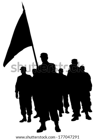 Soldiers people with large flags - stock photo