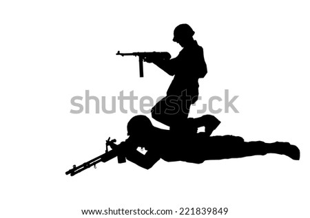 Soldiers silhouettes with rifles made in 3d software - stock photo