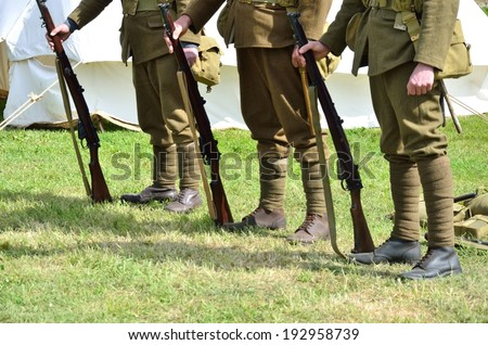 Soldiers standing - stock photo