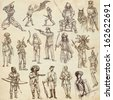 Soldiers, Warriors and Heroes (People and weapons all over the world - collection no.1, old paper set) - Description: Collection of an hand drawn illustrations drawing on old paper. - stock