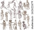 Soldiers, Warriors and Heroes (People and weapons all over the world - collection no.1, white set) - Description: Collection of an hand drawn illustrations isolated on white. - stock