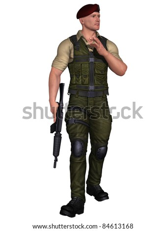 Soldiers with weapon - stock photo