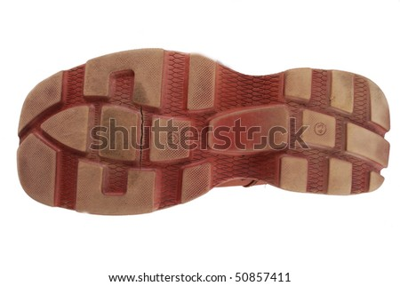 Sole from a powerful working boot with a ridge surface - stock photo