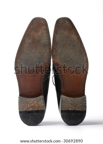 sole of fine leather shoes isolated on white background - stock photo