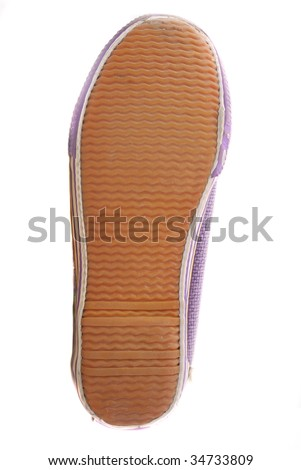 Sole of footwear with drawing of a protector for good coupling - stock photo