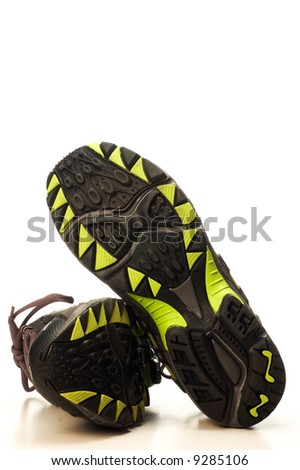 sole of running shoes on white background - stock photo