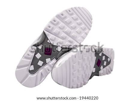 Sole of sport shoes, clipping path - stock photo