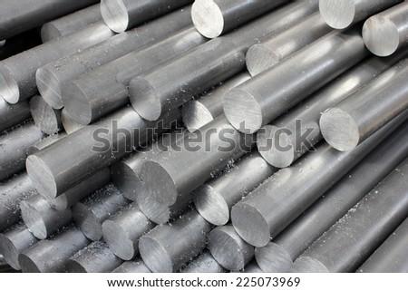 Solid aluminum tubes - stock photo