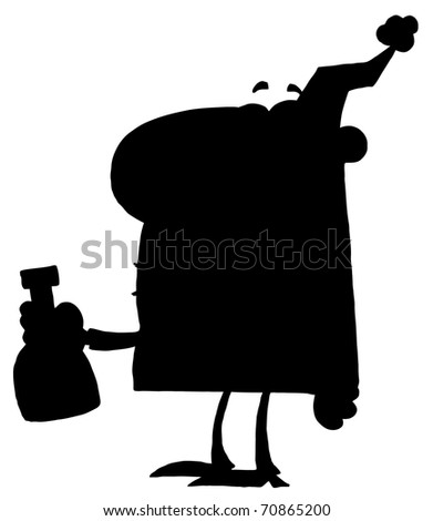 Solid Black Silhouette Of A Party Man With Liquor - stock photo