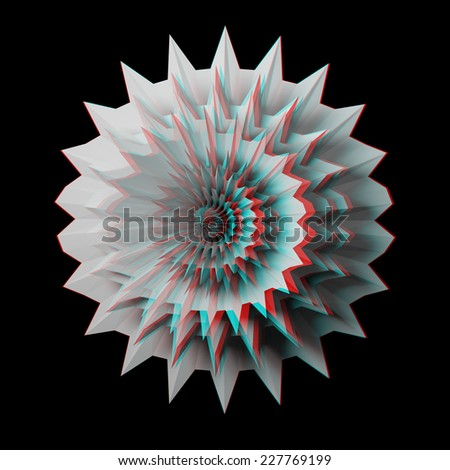 Solid 3D fractal. View anaglyph with red/cyan glasses.  - stock photo