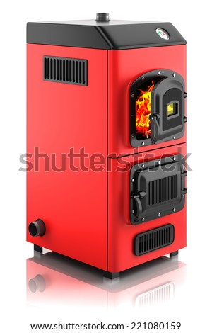 Solid fuel boiler. Isolated on white background 3D