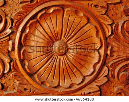 solid philippine hardwood with intricate hand carving - stock photo