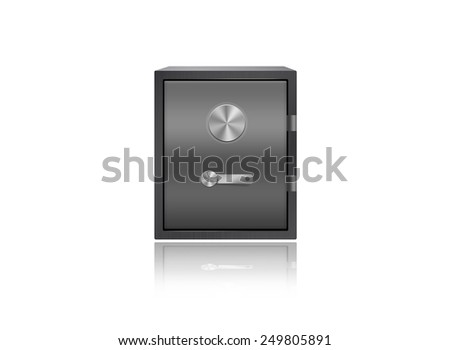 Solid safe box in metal - stock photo