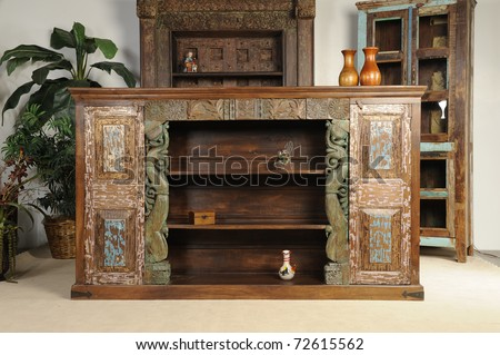 solid wood Indian furniture - stock photo