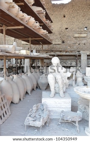Solidified Ash Figurine - Pompeii - stock photo