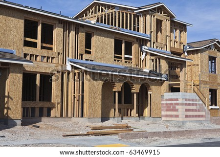 Solidly built modern home construction in the Western United States. - stock photo