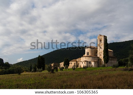 solitary abbey in the green Tuscany