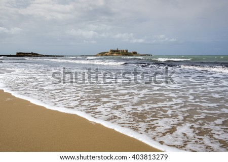 solitary beach in Sicily, Capo Passero, Italy, Europe