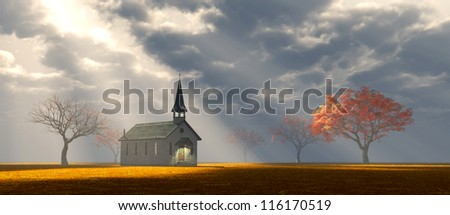 Solitude Chapel with God Rays - stock photo