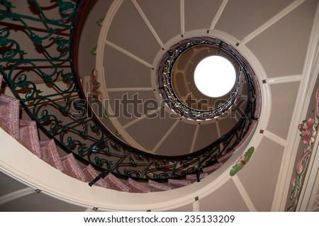SOLLER, MAJORCA, BALEARIC ISLANDS, SPAIN - FEBRUARY 17 2013: Can Prunera jugend staircase. Art nouveau, art deco or modernista interior spiral staircase in Can Prunera museum, Soller.