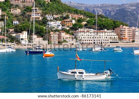Soller port in Majorca island with tramontana mountain on background at Spain - stock photo