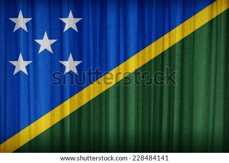 Solomon Islands flag pattern on the fabric curtain,vintage style - stock photo