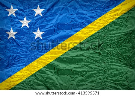 Solomon Islands flag pattern overlay on floyd of candy shell, vintage border style - stock photo