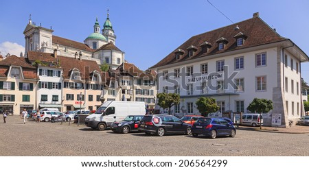 Solothurn, Switzerland - 19 July, 2013: cityscape with the St. Ursus Cathedral. The city of Solothurn is the capital of the Canton of Solothurn in Switzerland.