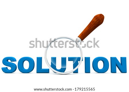 Solution  and magnifying glass - stock photo