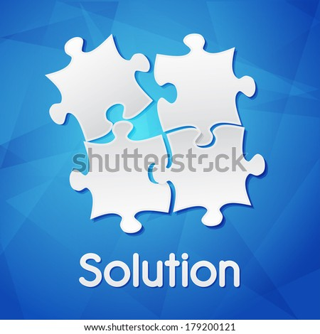 solution and puzzle pieces - white text with symbol over blue background, flat design, business creative concept - stock photo