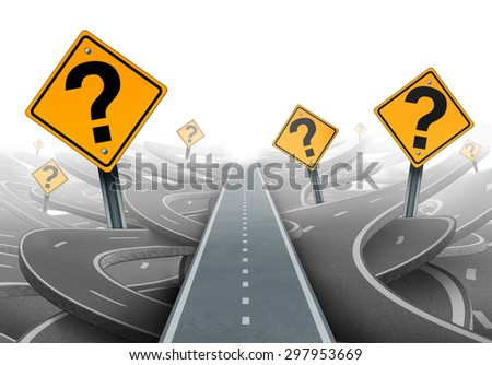 Solution and strategy path questions and clear planning for ideas in business leadership with a straight path to success with yellow traffic signs cutting through a maze of highways. - stock photo