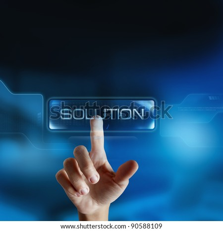 Solution button in a virtual display - stock photo