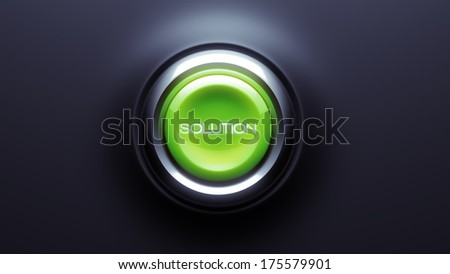 Solution Button isolated on dark background
