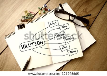 Solution Chart on Notebook - stock photo