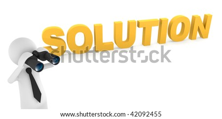 Solution concept, depicting 3D businessman looking for solution with binoculars - stock photo