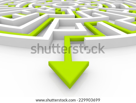 solution concept: green arrow path showing labyrinths end - stock photo