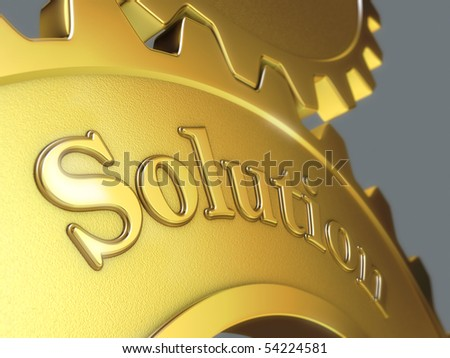 Solution concept. Two gears with word Solution.