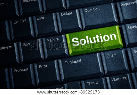 solution concept with green keyboard button - stock photo