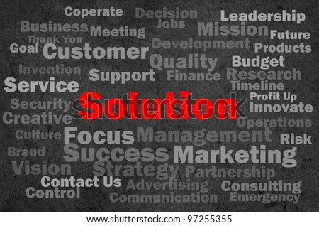solution concept with other related words on retro background - stock photo